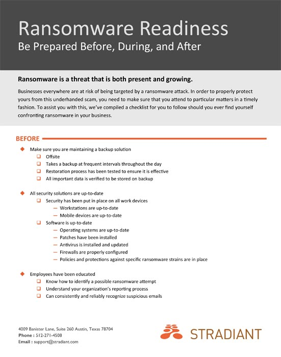 Stradiant Ransomware Readiness Checklist